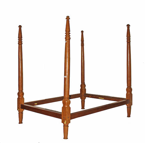 A late Federal walnut four poster bed second quarter 19th century