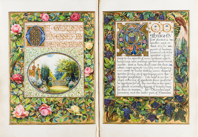 SANGORSKI—ILLUMINATED MANUSCRIPT. BACON, FRANCIS. Of Gardens: an Essay. London: especially written out and illuminated by F. Sangorski & G. Sutcliffe, [c.1905].