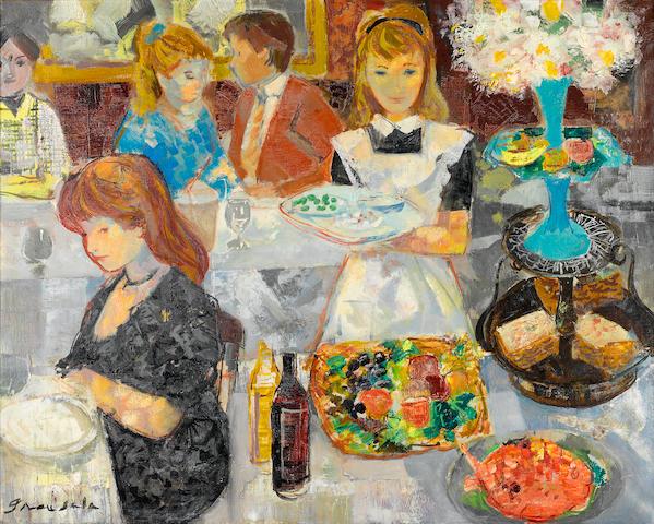 Emilio Grau Sala (Spanish, 1911-1975) Bistro parisien 25 9/16 x 32 1/16in. (65 x 81.5cm)