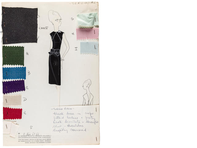 DIOR—MARC BOHAN. Archive of original drawings with fabric swatches prepared for an American debutante, Paris, [c.1966],