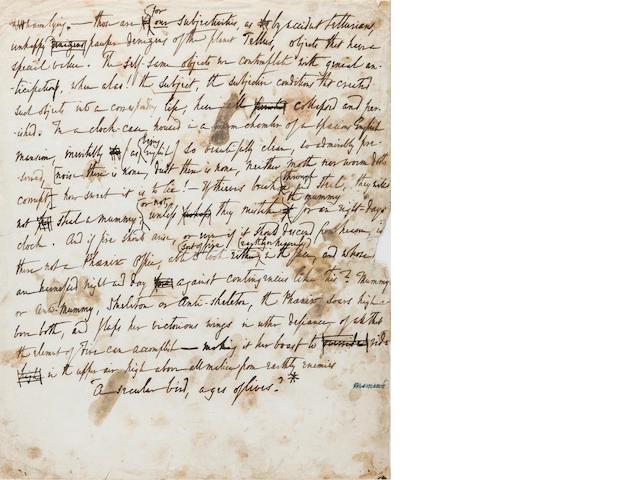 QUINCEY, THOMAS PENSON DE. 1785-1859. Autograph Manuscript, 1 p, 4to, n.p., n.d.,