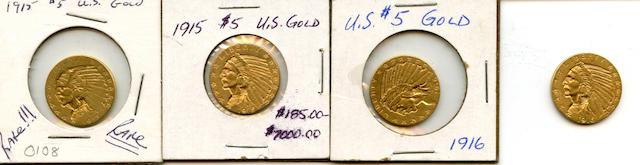 1915 (3), 1916-S $5
