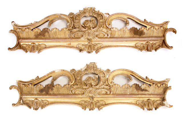 A pair of Louis XV style giltwood pelmets