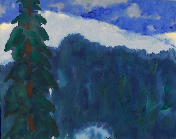 EMIL NOLDE (1867-1956) Gebirgslandschaft mit Tannenbaum 14 1/8 x 18 1/8in. (36 x 46cm)
