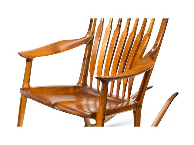 A Sam Maloof walnut and ebony rocking chair (shoot signature detail also)