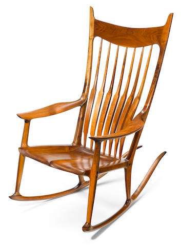 A Sam Maloof walnut and ebony rocking chair (shoot signature detail also)