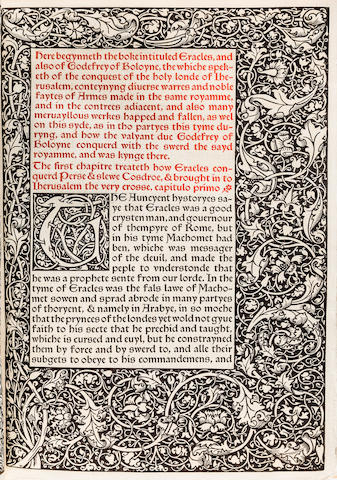 KELMSCOTT PRESS. The History of Godefrey of Boloyne and of the Conquesy of Iherusalem. Hammersmith: printed by William Morris at the Kelmscott Press, April 1893.<BR />