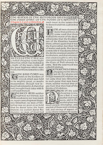 KELMSCOTT PRESS. MORRIS, WILLIAM. The Water of the Wondrous Isles. Hammersmith: printed at the Kelmscott Press, April 1897.<BR />
