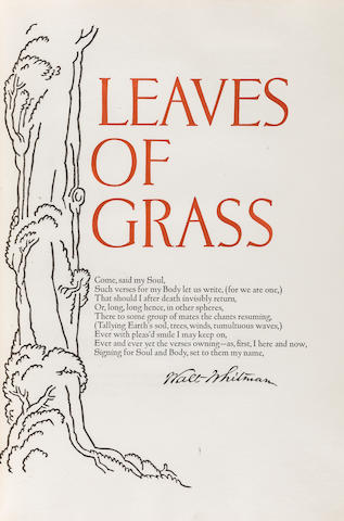 GRABHORN PRESS. WHITMAN, WALT. Leaves of Grass. New York: Random House, 1930. <BR />