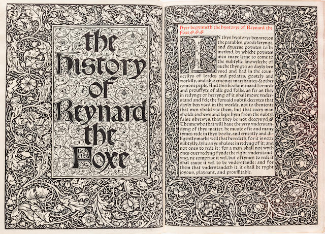 KELMSCOTT PRESS. CAXTON, WILLIAM. The History of Reynard the Foxe. Hammersmith: printed by William Morris at the Kelmscott Press, December 1892.<BR />