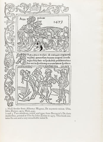 KELMSCOTT PRESS. COCKERELL, S.C., AND WILLIAM MORRIS. Some German Woodcuts of the Fifteenth Century. Hammersmith: printed under the direction of the late William Morris at the Kelmscott Press, December 1897.