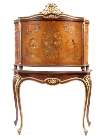 A Continental pewter and shell inlaid marquetry bar cabinet