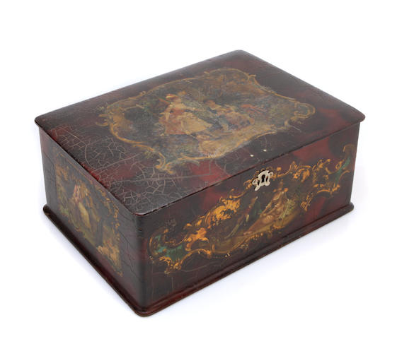 A French Rococo style paint decorated box