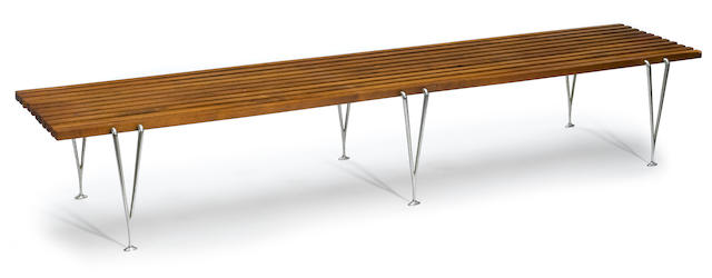 A wood and steel slat bench mid-20th century