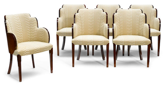 A set of six Art Deco dining chairs