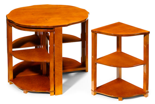 A suite of five Continental Art Deco mixed wood nesting tables circa 1930