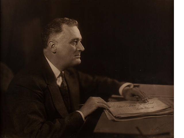 "ROOSEVELT, FRANKLIN DELANO. 1882-1945. Oversize Photograph Signed (""Franklin D. Roosevelt"") and Inscribed (""For William C. Dickerman from his friend""),"