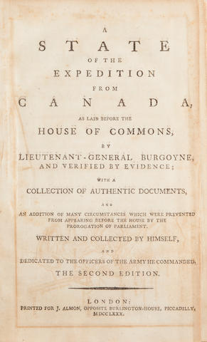 BURGOYNE, JOHN. 1722-1792. A State of the Expedition from Canada.... London: J. Almon, 1780.<BR />