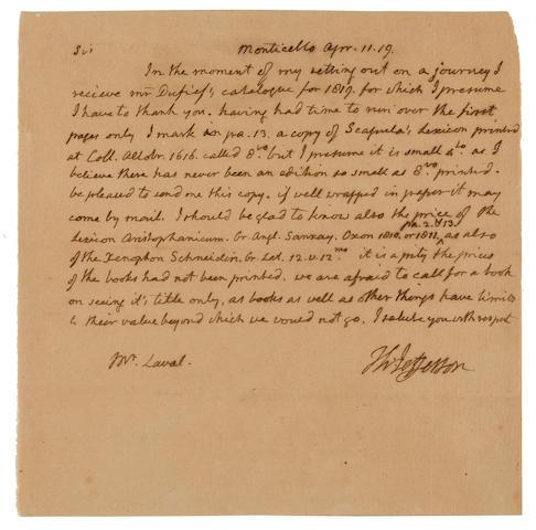 """JEFFERSON, THOMAS. 1743-1826. Autograph Letter Signed (""""Th. Jefferson""""), 1 p, 4to, Monticello, April 11, 1819,"""