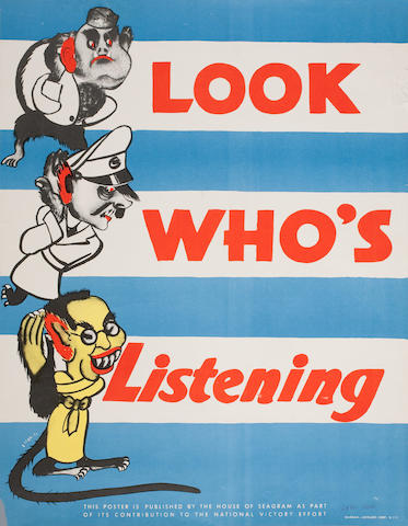 A pair of American World War II cautionary posters  circa 1942 21-5/8 x 27-7/8 in. (54.9 x 70.9 cm.) and 20 x 14 in. (50.8 x 35.5 cm.) 2