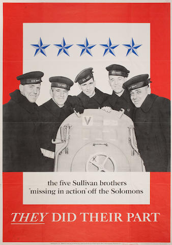 Anonymous, circa 1943 The Five Sullivan Brothers  40 x 28-1/2 in. (101.6 x 72.3 cm.)