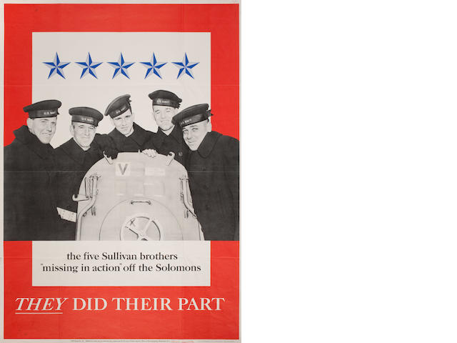 "The Five Sullivan Brothers  ""Missing in Action"" off the Solomons, They Did Their Part 40 x 28 1/2"