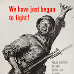 WE HAVE JUST BEGUN TO FIGHT!,  Pearl Harbor, Bataan, Coral Sea, Midway, Guadalcanal, New Guinea, Bismarck Sea, Casablanca, Algiers, Tunisia 40 x 28 1/2