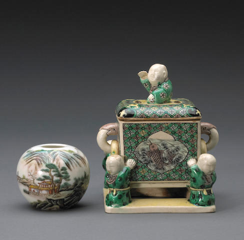 Two polychrome enameled porcelain decorations