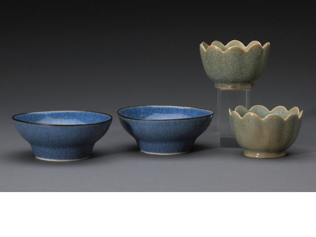 A group of crackle glazed porcelain bowls