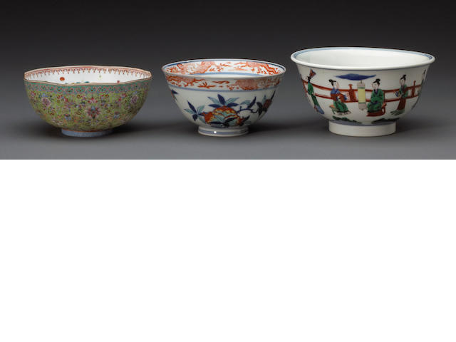 A  group of three polychrome enameled porcelain bowls Late Qing & Republic period