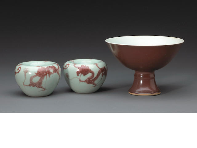 A group of porcelain containers with copper red decoration