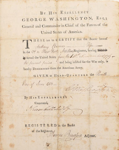 "WASHINGTON, GEORGE. 1732-1799. Document Signed (""Go: Washington""), partially printed and accomplished in manuscript, 1 p, 4to, Headquarters, June 9, 1783, the military discharge issued to Anthony Bremer, a fifer in the 2nd New York Artillery Regiment,"