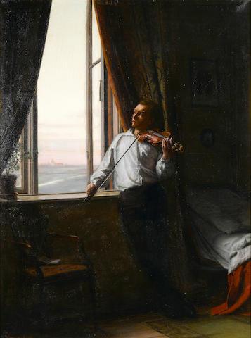 Aage Giodesen (Danish, 1863-1939) The violin player 43 3/4 x 42 1/2in