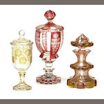 Two Bohemian flashed and engraved covered pokals and a scent bottle second half 19th century