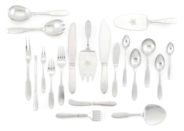 A Gundorph Albertus for Georg Jensen stainless steel assembled part flatware service for twenty-four in the Mitra pattern designed in 1941