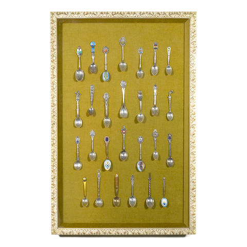 An assembled International collection of twenty seven silver and metal souvenir spoons 19th / 20th century