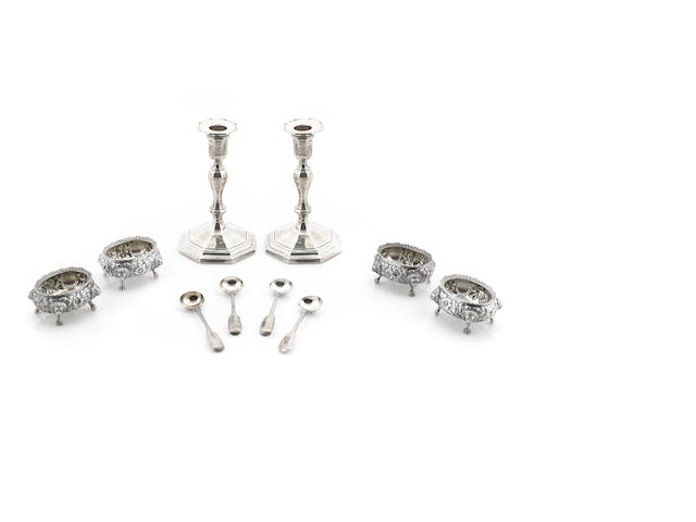 A set of American  sterling silver  floral repousse-decorated cauldron salt cellars by Peter L. Krider, Philadelphia, PA,  second half century