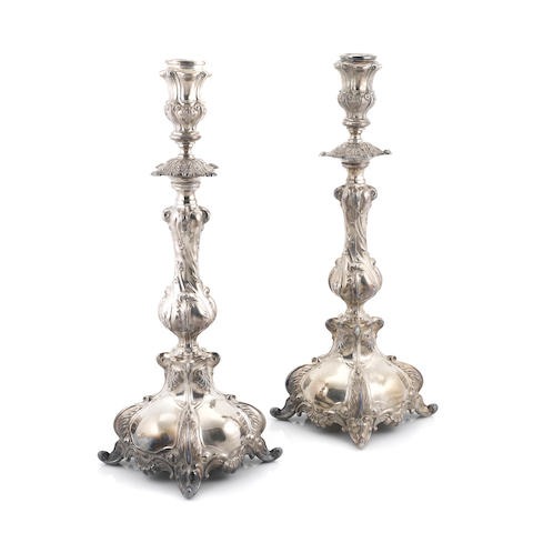 A pair of Continental silverplate Baroque style altar sticks 20th century