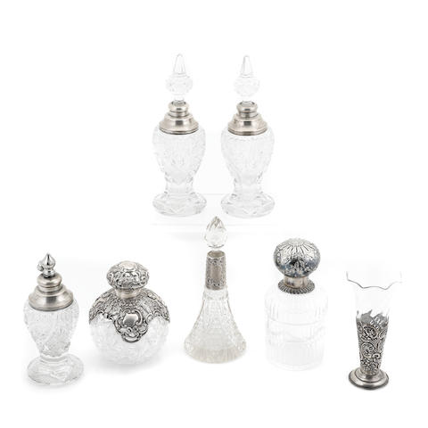 An assembled International group of  silver and cut-glass  vanity articles 20th century