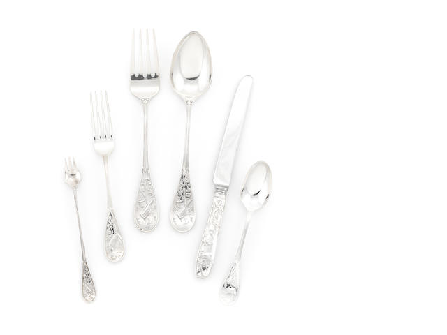 An American sterling silver part flatware service, Tiffany & Co., NY, Audubon pattern, 17pcs