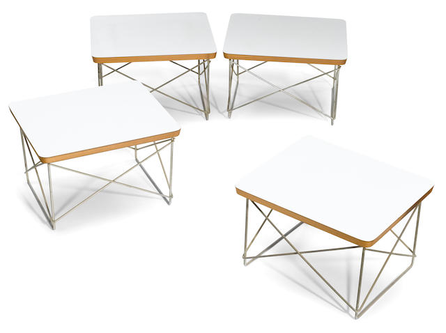 A set of four Eames white laminated birch and zinc LTR tables