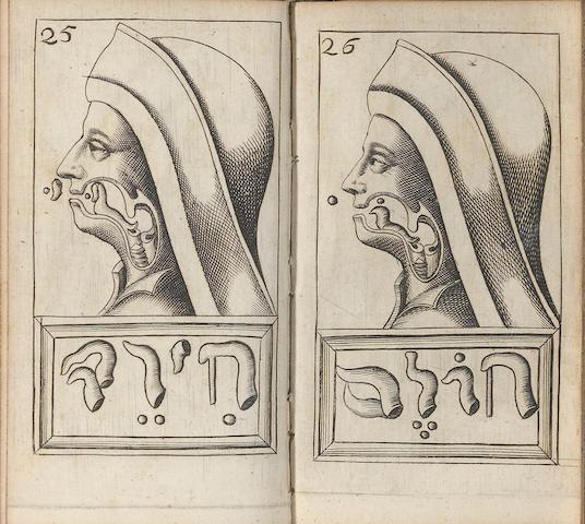 HELMONT, FRANCISCUS MERCURIUS VAN. 1618-1699. Alphabeti vere Naturalis Hebraici Brevissima Delineatio....  Sulzbach: Abraham Lichtenthal, 1667. BOUND WITH: TOSSANO, PAULO. Dictionum Hebraicarum. Basel: Waldkirchianis, 1615.