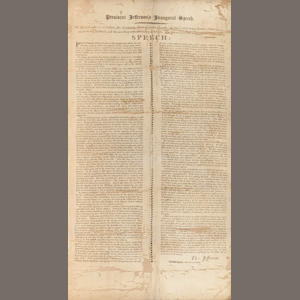 JEFFERSON, THOMAS. 1743-1826. President Jefferson's Inaugural Speech. [Boston]: True & Parks, 1805.