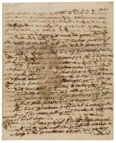 "MONROE, JAMES. 1758-1831. Autograph Letter Signed as President (""James Monroe""), 3 1/2 pp recto and verso, 4to (conjoined leaves), Washington, July 9, 1821,"