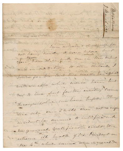 "VAN BUREN, MARTIN. 1782-1862. Autograph Letter Signed as Vice-President (""M Van Buren""), 4 pp recto and verso, 4to (conjoined leaves), March 9, 1833, to Attorney General Benjamin F. Butler,"