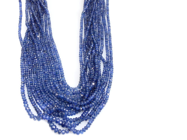 A sapphire faceted bead multi-strand necklace