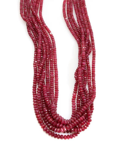 A ruby faceted bead multi-strand necklace