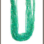 An emerald faceted bead multi-strand necklace