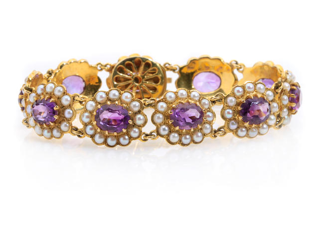 A cultured pearl, amethyst and gold link bracelet