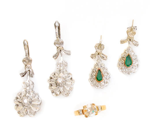 A group of diamond, gem-set and bicolor gold jewelry